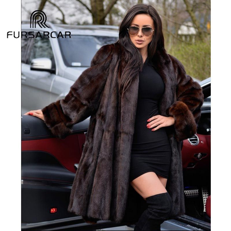 FURSARCAR 2018 New Arrival Luxury Natural Mink Fur Coats For Women With Turn-down Collar 100 CM Long Real Mink Fur Female Coat