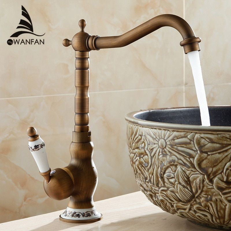 Basin Faucets Antique Bathroom Sink Mixer Grifo Lavabo Single Handle Single Hole WC Bathroom Faucet Brass Hot and Cold Tap 9210F