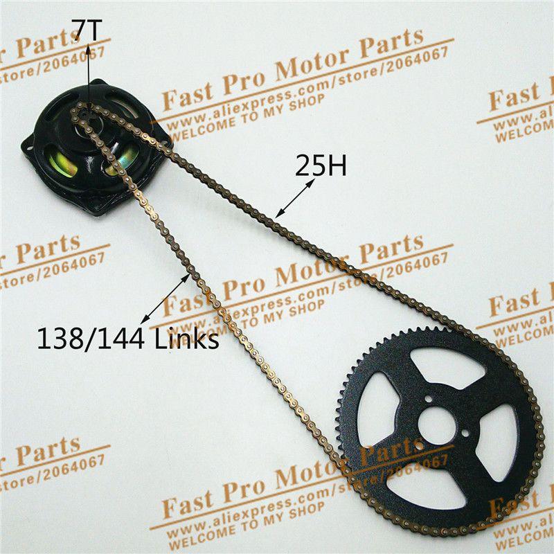 Mini Moto 47cc 49cc Drive System 25H 138/144 links loops Chain with Gear Box And Rear Sprocket Fit Mini Moto Pocket Bike