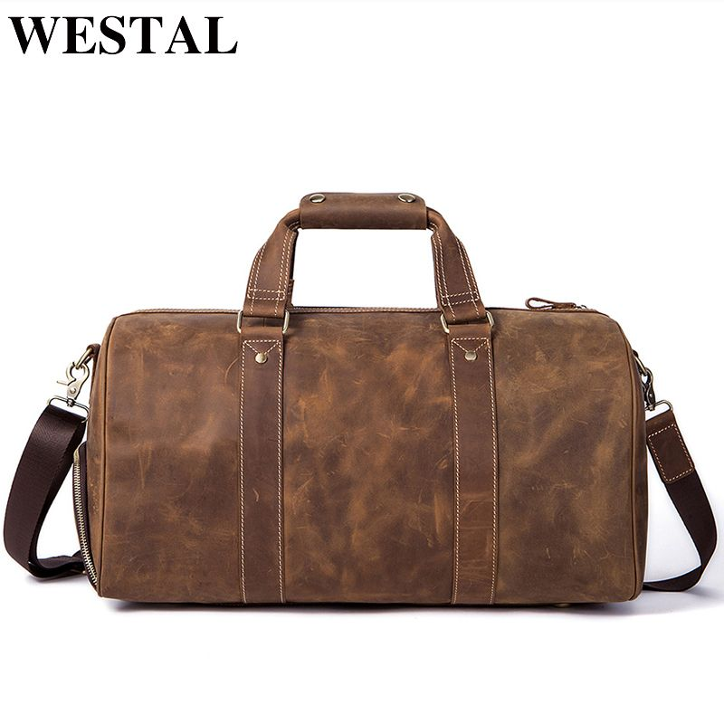 WESTAL Crazy Horse Leather Duffle Bags Vintage Weekend Bag Carry on Luggage Men Computer Laptop Handbag Men Travel Bag Leather