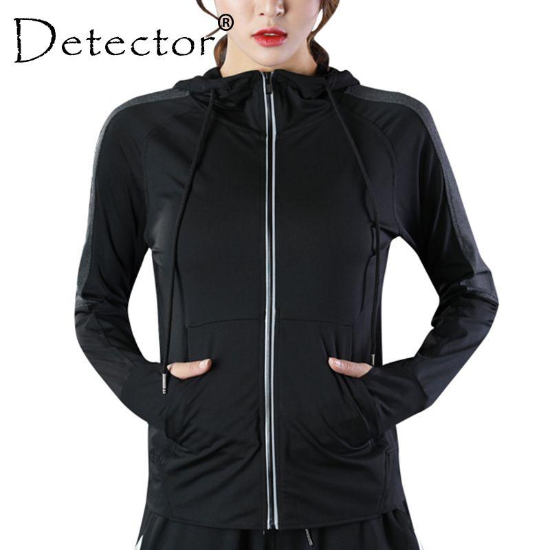 Detektor frauen Läuft Reißverschluss Langarm Laufjacke Fitness Workout Trocknen Schnell Breathable Hoodies Tops Strumpfhosen Sportswear
