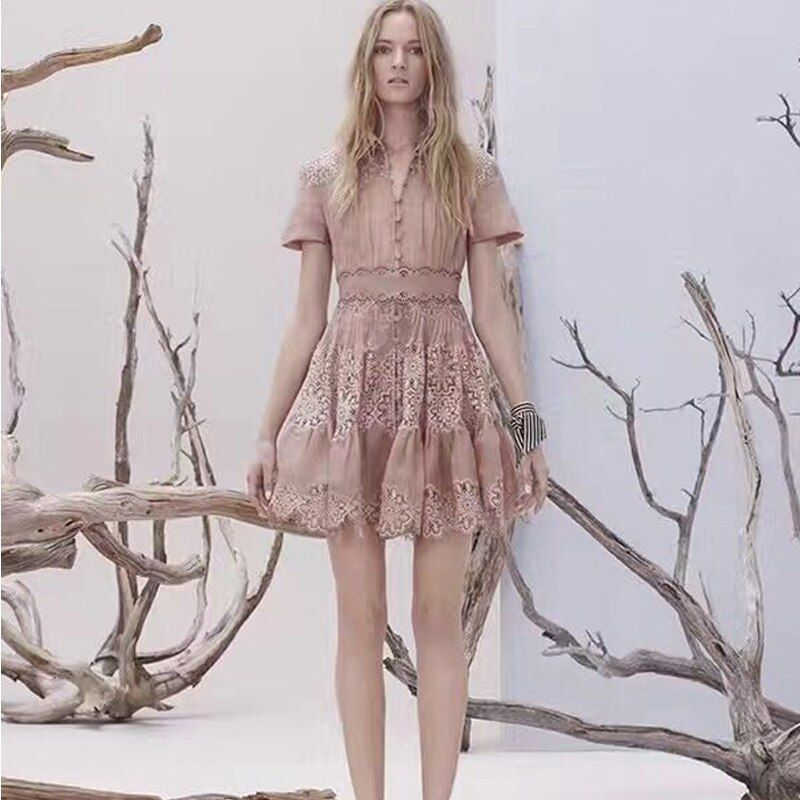 Neue Europa neue frühjahr und sommer zeigen dünne baumwolle elegante temperament nähte spitzenkleid Revers lösung