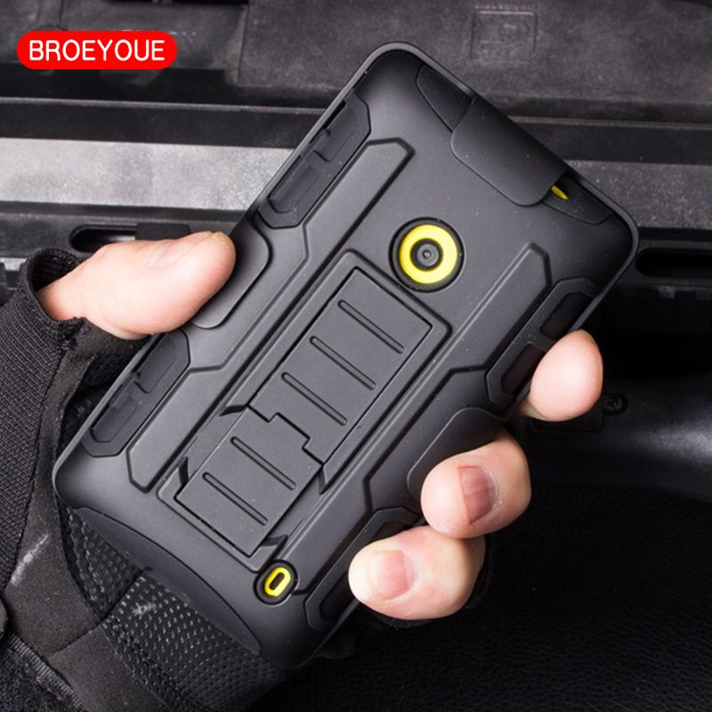 BROEYOUE Armor Impact Holster Hard Case For Nokia Microsoft Lumia 630 520 525 635 640 640XL 929 930 950 Shockproof Back Cover