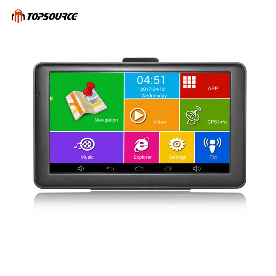 TOPSOURCE 7'' Car GPS Android Navigation Capacitive Screen 8GB 800MHZ Navitel/Europe/USA/Canade Map Truck GPS Navigation