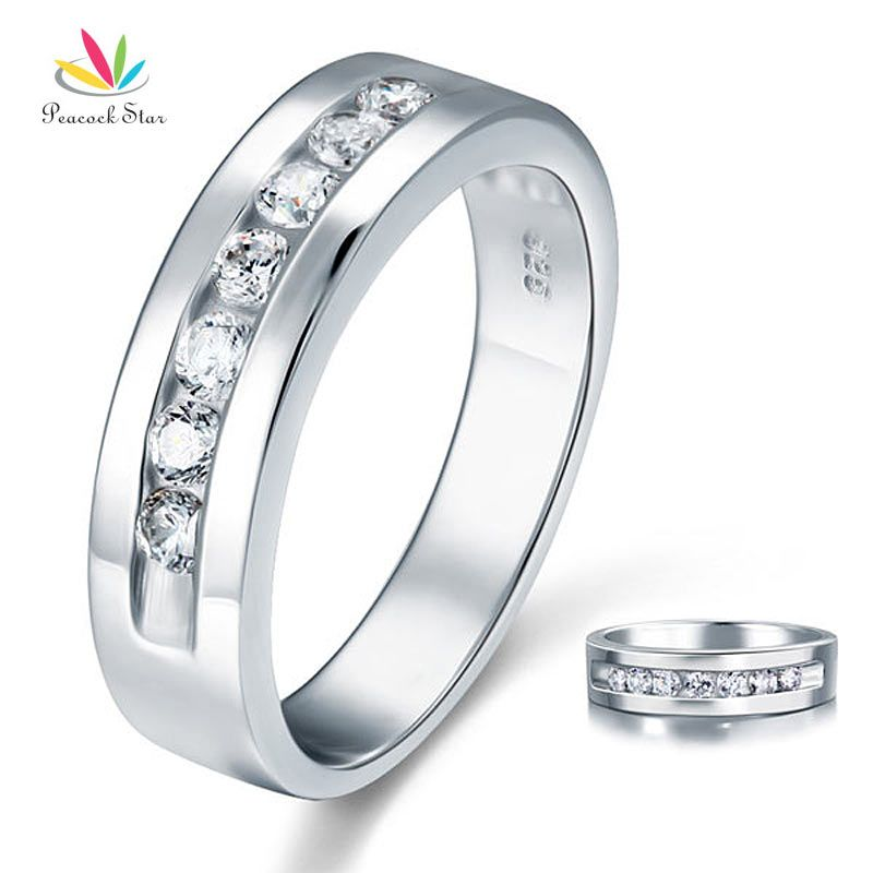 Peacock Star Round Cut Men's Bridal Wedding Band Solid 925 Sterling Silver Ring Jewelry CFR8057