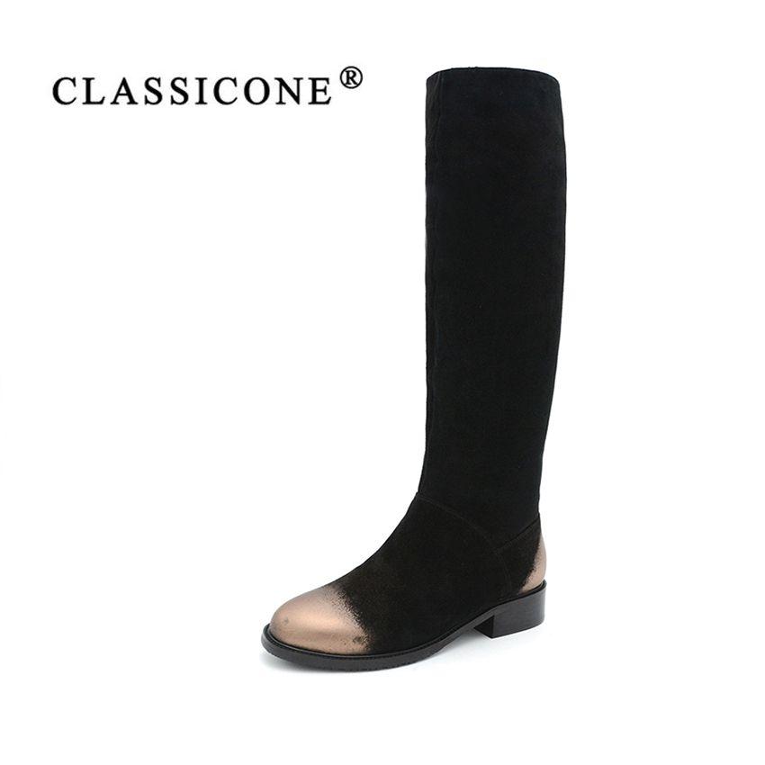 CLASSICON frau winter schuhe kniehohe stiefel aus echtem leder wildleder wohnungen warme wolle frauen schuhe marke mode-stil schnee stiefel