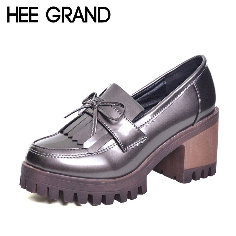 HEE GRAN Borla Oxfords 2017 Bling de zapatos de Plataforma Zapatos de Mujer Mocasines Enredaderas Ocasionales del Slip On High Heels Zapatos de Plata XWD6047