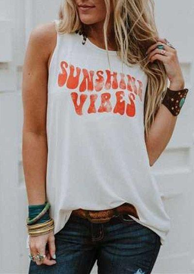 2019 Fashion Women Harajuku Tank Top Summer Sleeveless Female t shirt Tee Sunshine Vibes Print Vest Casual Lady Tops T-shirt