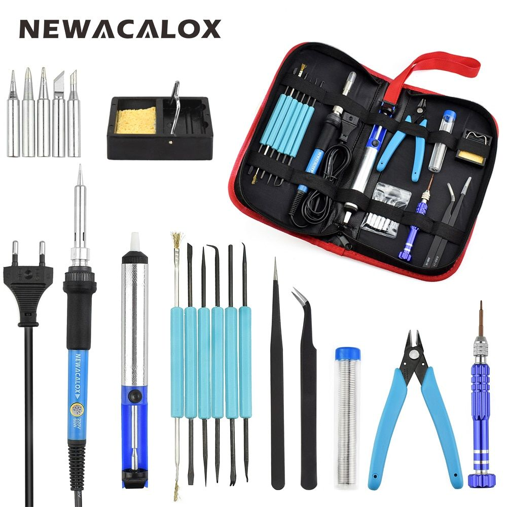 NEWACALOX EU/US 60W Thermoregulator Soldering Iron Kit Screwdriver Desoldering Pump Tin Wire Pliers Welding Tools Storage Bag