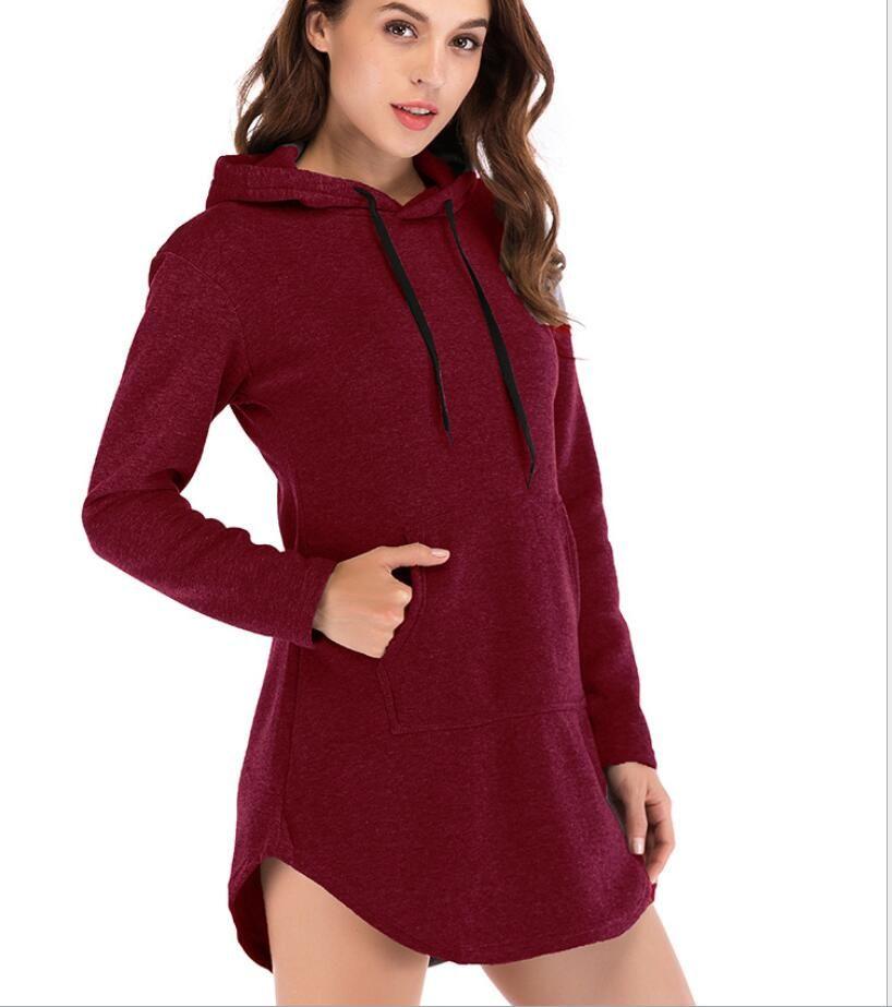 Hot sale long pocket fleece hooded sweatshirt women
