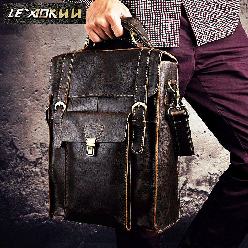 Men Real Leather Designer Casual Travel Bag Male Fashion Backpack Daypack University Student School Book Bag Shoulder Bag 2106