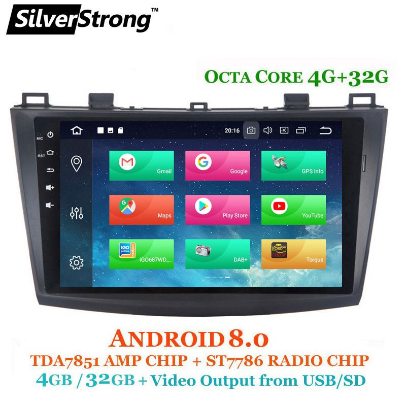 SilverStrong OctaCore 4g Android8.0 Auto Radio GPS Für Mazda3 Auto GPS Für MAZDA 3 Auto Stereo mit TPMS DVR TUPFEN Optional