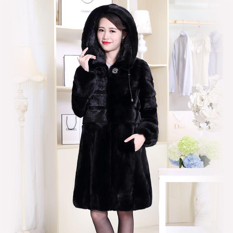 Nerazzurri Echt Nerz Pelzmantel China Echtem Mit Kapuze Winter Natürliche Nerz Pelz Jacke Langarm Schwarz Plus Größe Mantel 6xl 7xl