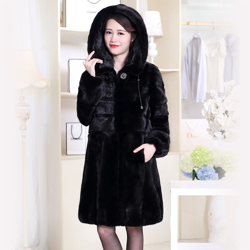 Nerazzurri Real Mink Fur Coat China Genuine Hooded Winter Natural Mink Fur Jacket Long Sleeve Black Plus Size Overcoat 6xl 7xl