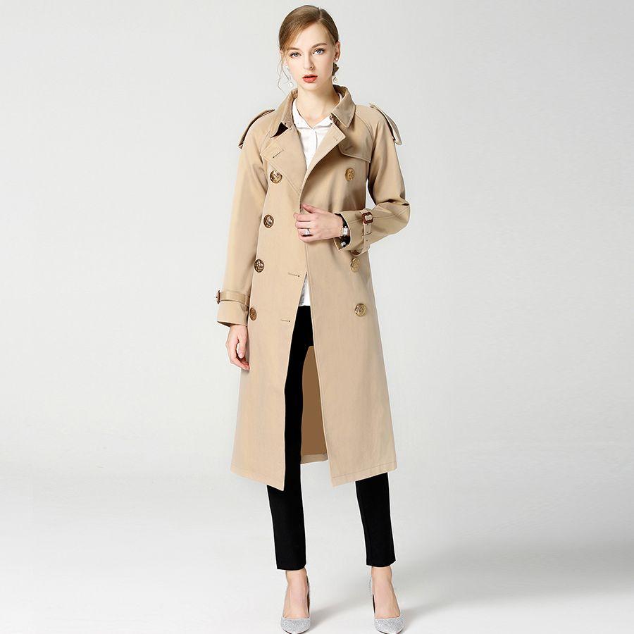 2018 herbst Winter Britischen Neue Design B Marke Graben Wasserdichte Elegante Vintage Klassische Plaid Frauen Lange Trenchcoat