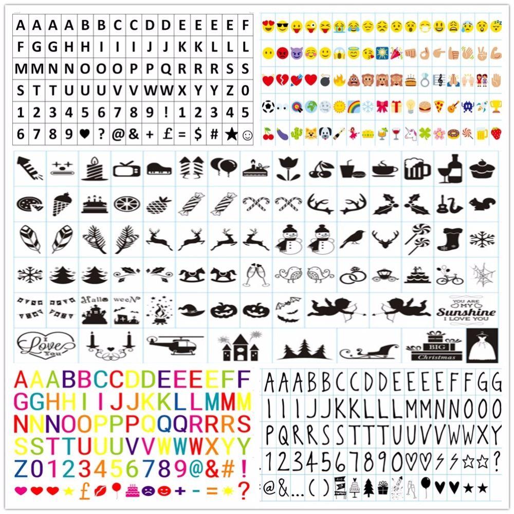 A4 LED Boîte à Lumière A5 Symboles Glyphes Lettre Cartes Jardin ornements Emoji Numéros Noir et Coloré Cinéma Lumière Maison À L'intérieur décor