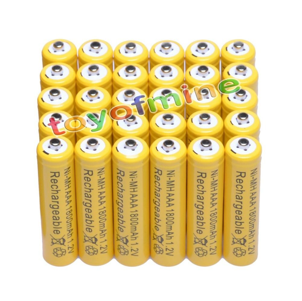 4/10/16/24/30/48/100pcs AAA 1800mAh 3A 1.2V Ni-MH Yellow Rechargeable Battery Cell for MP3 RC Toys led flashlight torch light