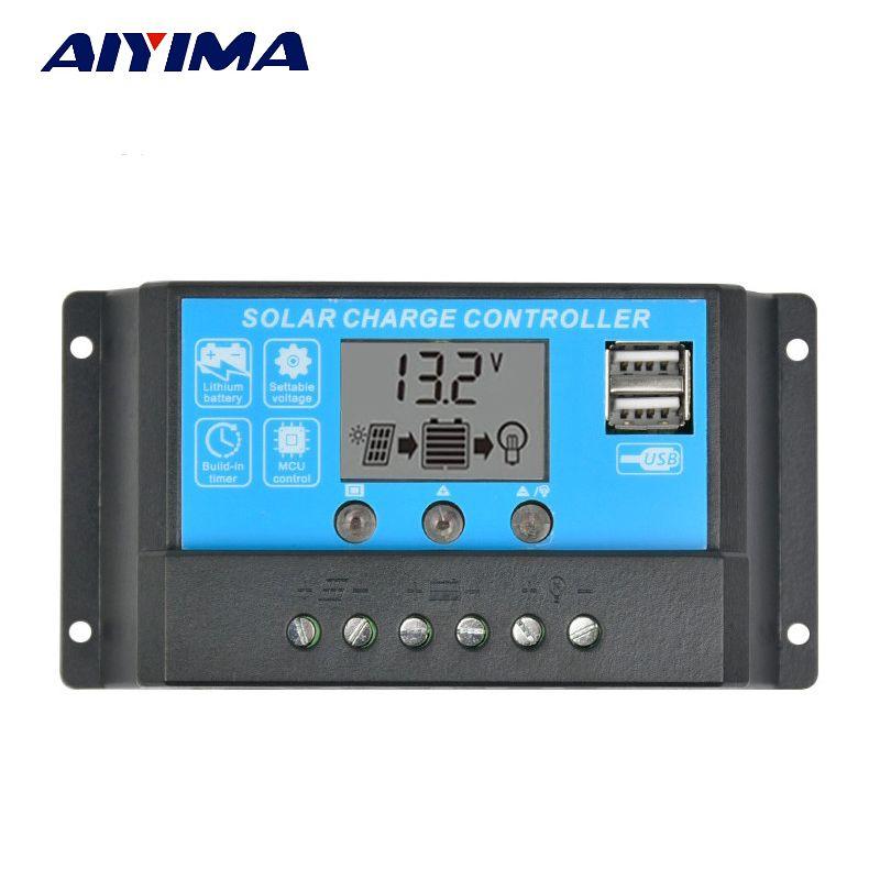 AIYIMA 15A 12 V 24 V contrôleur de Charge solaire automatique régulateur PWM avec LCD 5 V double USB pour batterie au lithium au plomb