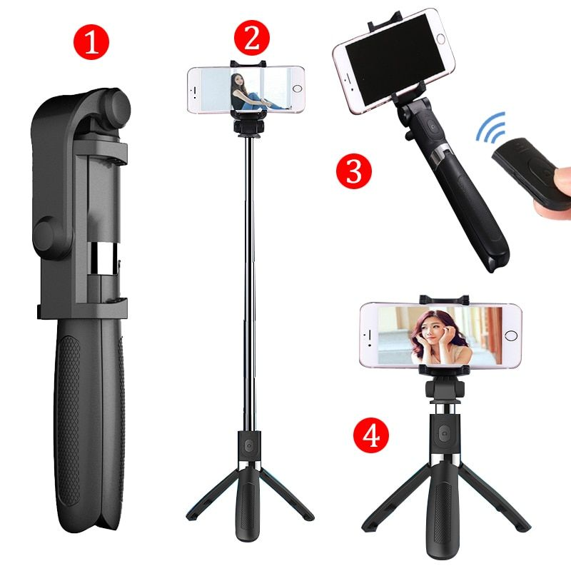 Selfie Stick Tripod With Bluetooth Remote Control for iPhone Tripod for Phone Gopro Sport Camera Light Monopod with Clip
