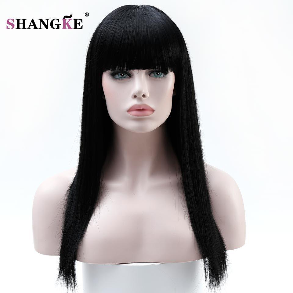 SHANGKE 22 ''Long Noir Cheveux Perruques Pour Les Femmes Perruques Synthétiques Pour Les Femmes Noires Résistant À La Chaleur Faux Cheveux Pièces Femmes coiffures
