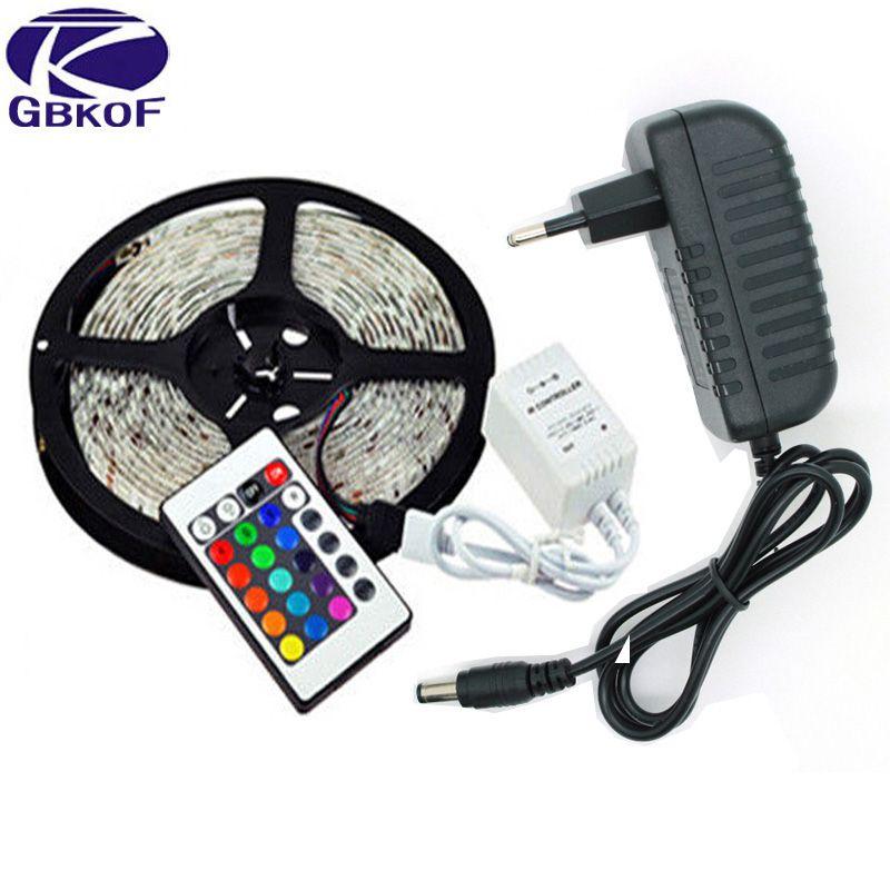 5 meters 300 LEDs RGB 3528 Waterproof flexible light 60 led/m tape include IR Remote and 12V 2A power adapter(110-240V input)
