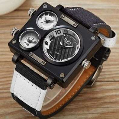 2019 OULM Quartz Mens Watches Top Brand Luxury Marine Canvas Strap Square Dial Multiple Time Zones Fashion Casual Analog Clock