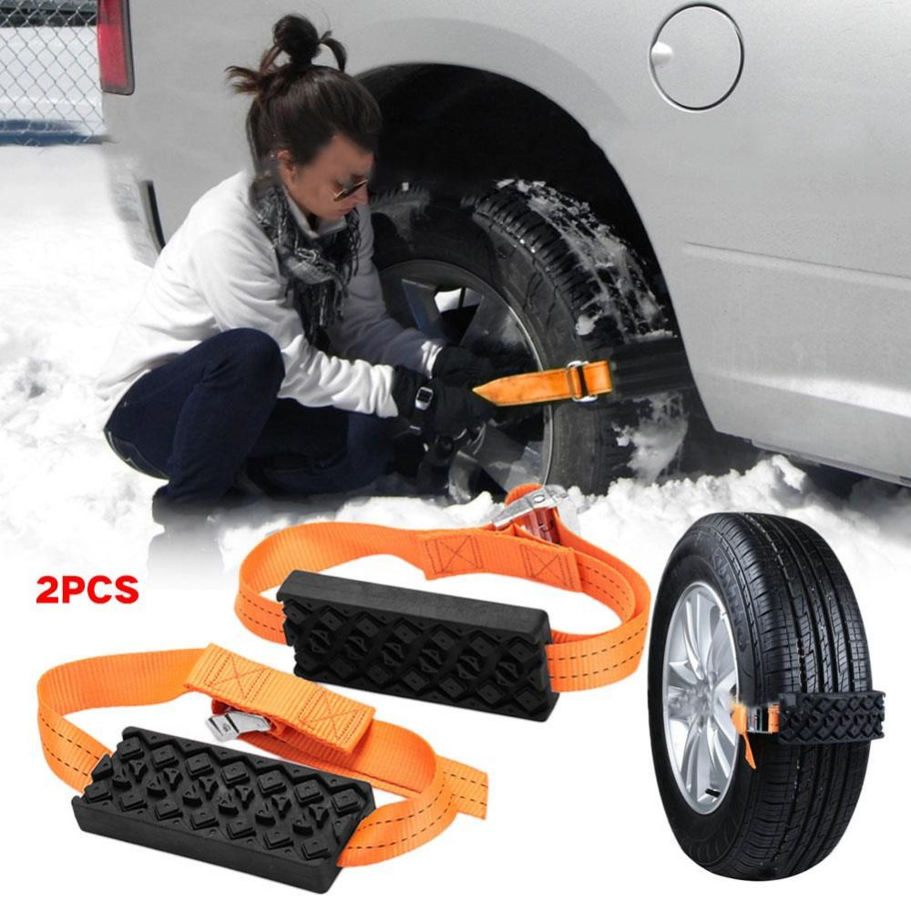 VEHEMO 2PCS Car Snow Chains Non-Slip Snow Mud Adjustable Car Tire Wheel Chains Tyre Strap Belt Outdoor Road Safety Car styling