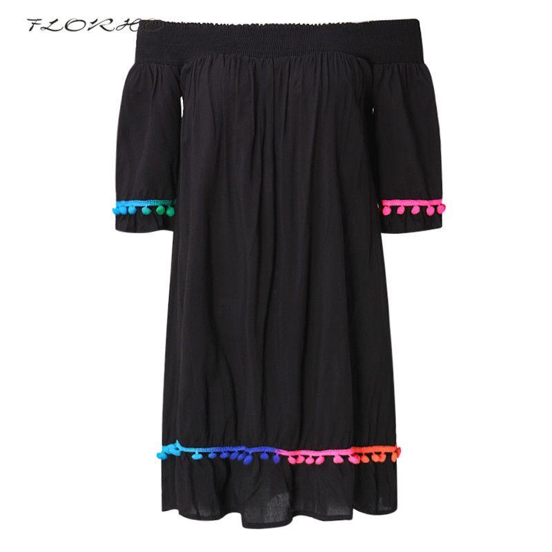 FLORHO New Summer Fashion Women Black Dress Casual Loose Beach Dresses Sexy Slash Neck Off Shoulder Dress Vestidos Plus Size 3XL