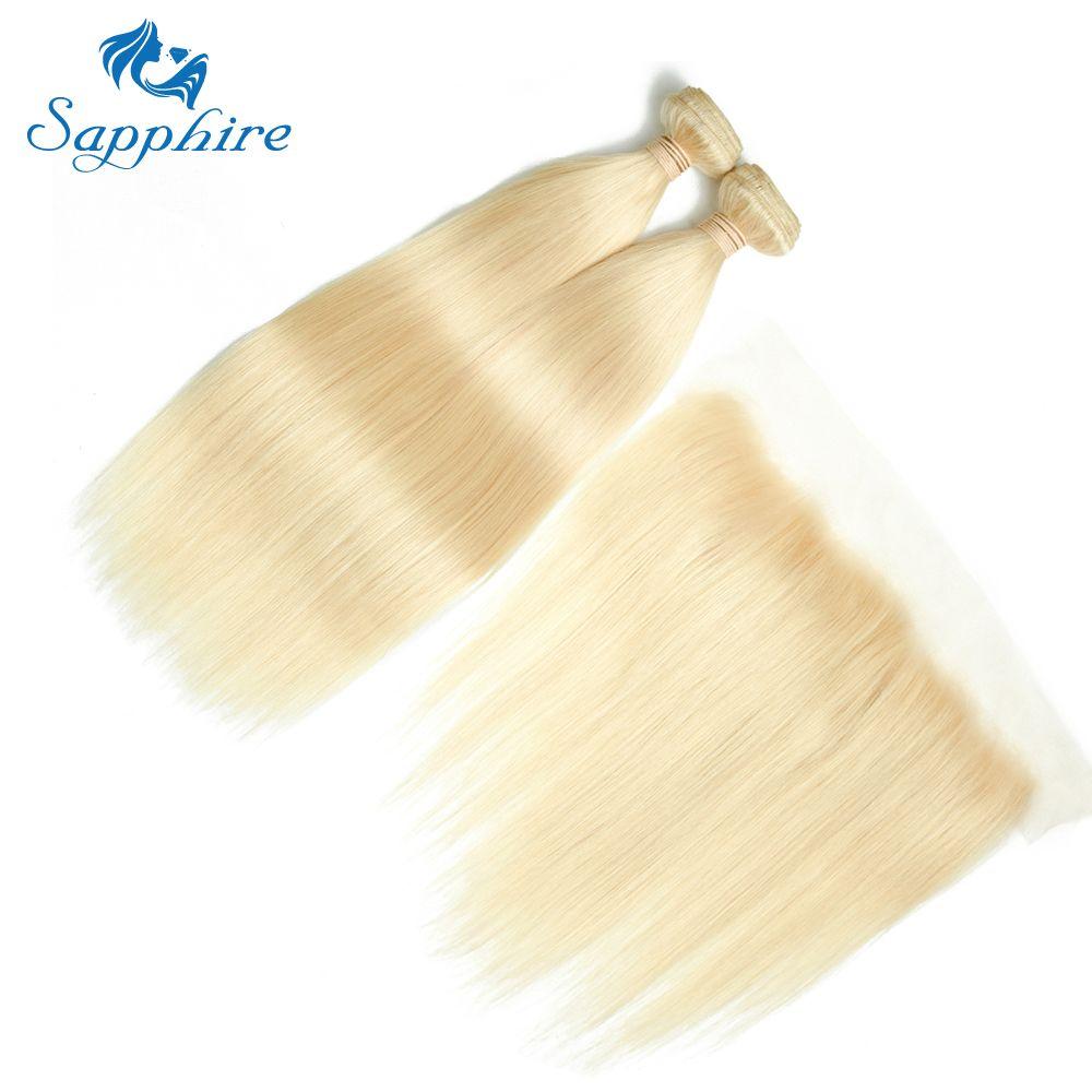 Sapphire Virgin Hair Peruvian Straight 3 Bundles With 13*4 Lace Frontal Closure 100% Human Hair Weaving 613 Blonde Virgin Hair