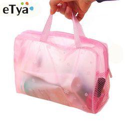 ETya 5 цветов органайзер для косметики сумка для хранения туалетные принадлежности Женская водонепроницаемая прозрачная цветочная пвх дорож...