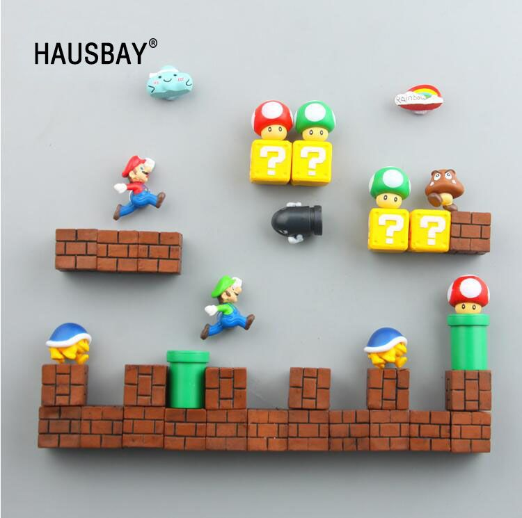 3D Cute Super Mario Resin Fridge Magnets Toys for Kids Home Decoration Ornaments Figurines Wall Mario Magnet Bullets Bricks 1389