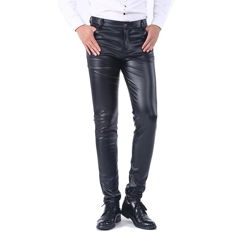 Idopy D'affaires Pour Hommes Slim Fit Cinq Poches Extensible Confortable Noir Solide Pantalon Simili Cuir Pantalons Jeans Pour Hommes