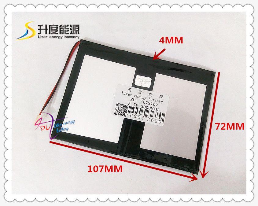 3,7 V 5000 mAH 4072107 Polymer lithium-ionen/Li-Ion akku für tablet pc