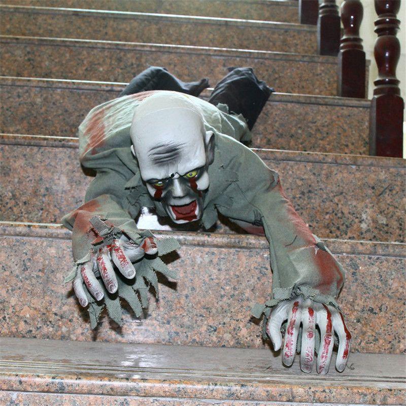 New Acrawl Halloween Scary Prop Creepy Ghost Creepy Voice Control Light Up Eyes Glowing Skull Devil Horror Halloween Decorations