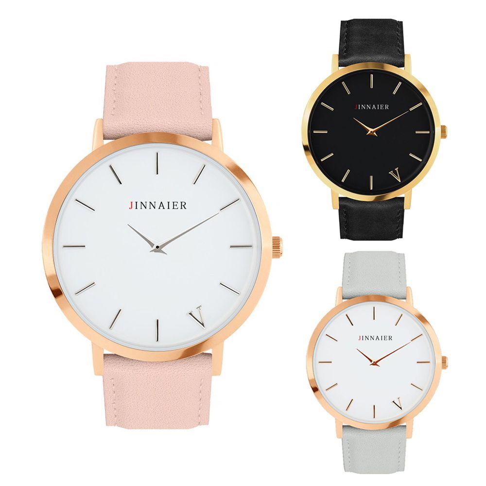 Simplicidad Clásica Mujeres Del Reloj Famoso 2016 de la Marca de Lujo Hombres Relojes de Cuarzo Relogio masculino Reloj de Pulsera Banda de Cuero