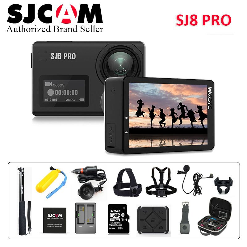 Stock!SJCAM SJ8 Pro 4K 60fps Sports Camera Waterproof Anti-Shake Dual Touch Screen 8*Digital Zoom WiFi Remote Control Action DV