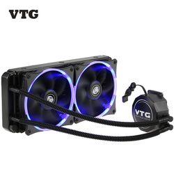 Nueva vtg240 líquido congelador agua líquido Sistema de refrigeración CPU cooler fluid Dynamic bearing 120mm luz LED PC case refrigeración dual ventiladores