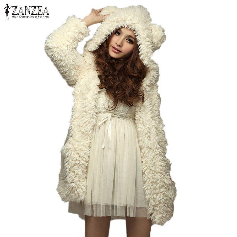 ZANZEA <font><b>Women</b></font> Hoodies Sweatshirt Fleece Fur Coat 2018 Winter Warm Teddy Bear Ears Soft Jacket Thick Overcoat Hooded Long Outwears
