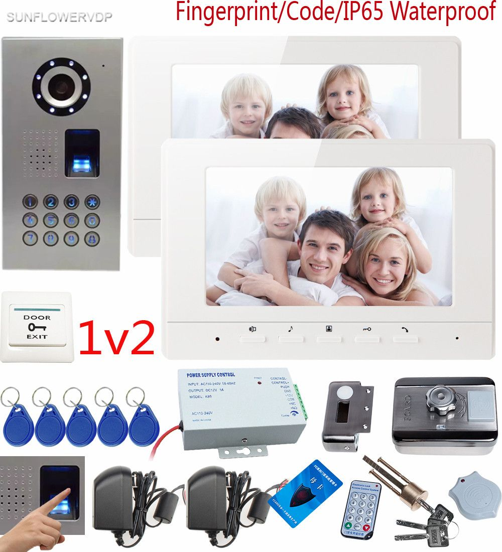 SUNFLOWERVDP Videophone Fingerprint CCD Door Bell Camera 7