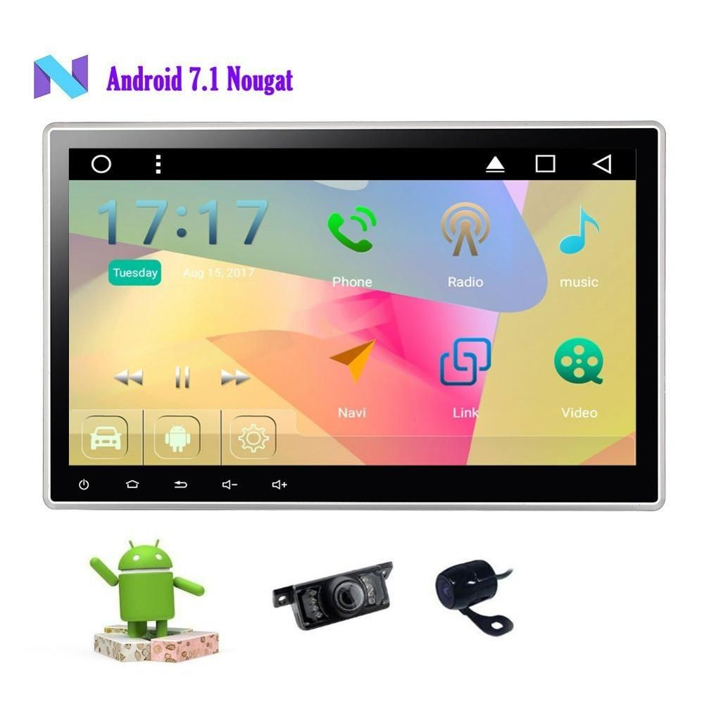 Camera+2 din Android 7.1 Car Stereo GPS 10.1'' Car DVD Player In Dash Headunit Radio Receiver Support WiFi/Bluetooth/Subwoofer