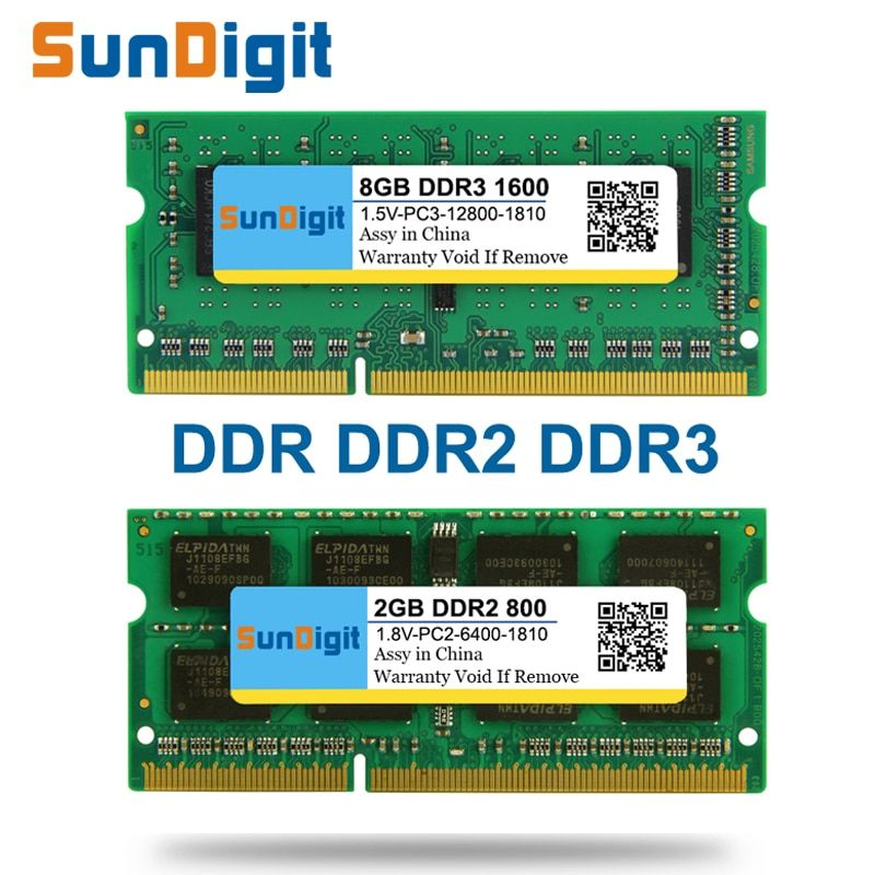 SunDigit Laptop-speicher Ram DDR1 DDR2 DDR3 1600 Mhz 1333 800 400 8 GB 4 GB 2 GB 1 GB 512 MB für Notebook Sodimm Memoria DDR 1 2 3