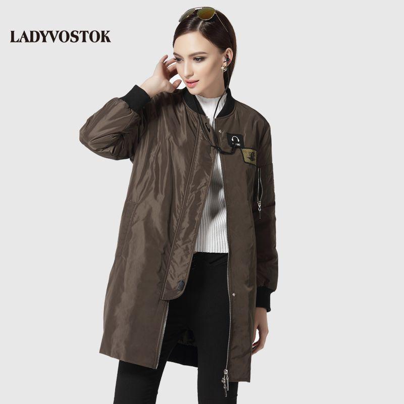 LADYVOSTOK lady coat casual windbreaker fashion headphones women casual long section 17-081