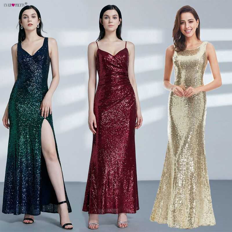 Gold Long Evening Dress Ever Pretty Back Cowl Neck EP07110GD Shine Sequin Sparkle Elegant Women 2018 Evening Party Gowns