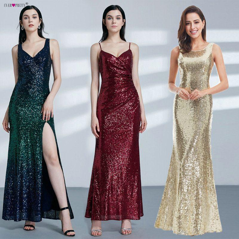 Robe de soirée longue en or jamais jolie dos col bénitier EP07110GD Shine Sequin paillettes élégantes femmes 2019 robes de soirée
