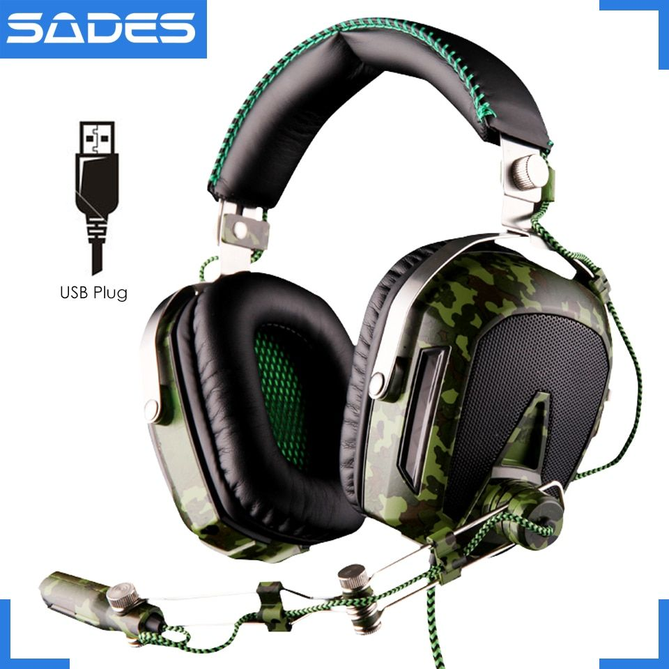 High quality SADES A90 usb 7.1 surround sound professional big gaming headphones with microphone breathing lights for pc gamer