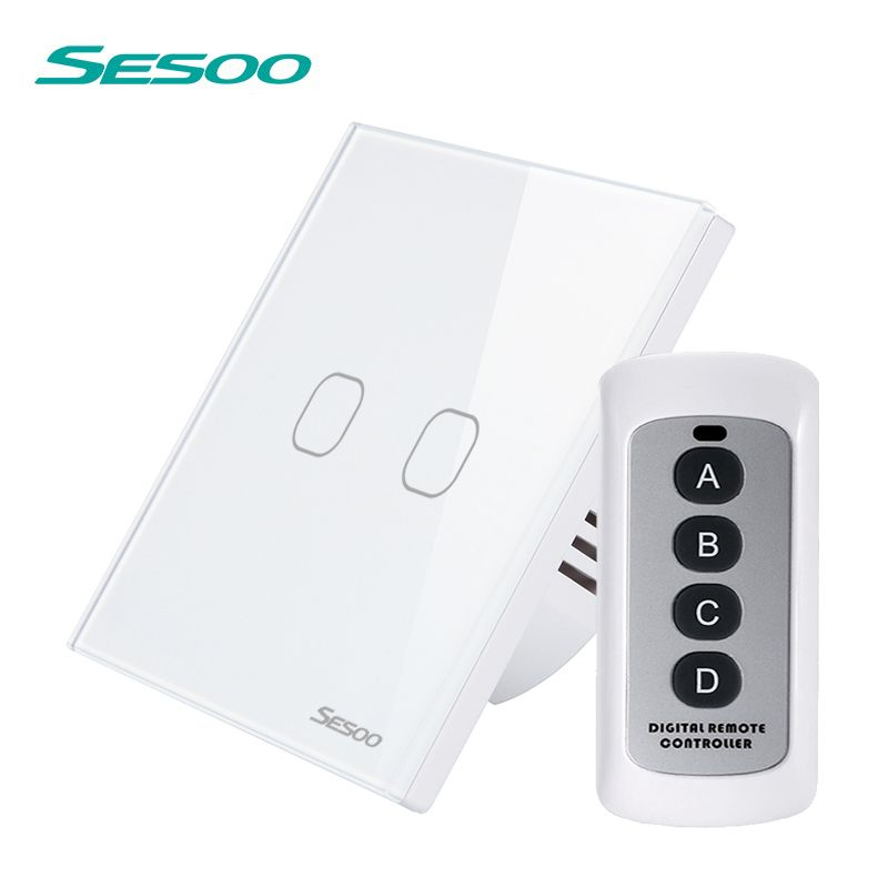 SESOO Smart Touch Switch 2 Gang 1 Way SY2-02 Remote Control Switches Waterproof Glass Panel Sensitive Touch Wall Switch