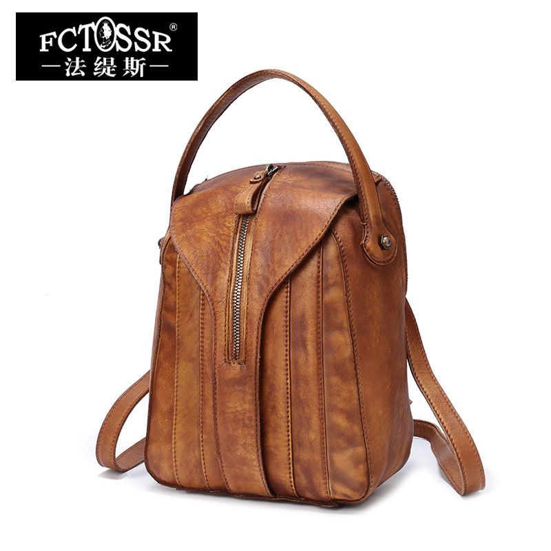 Leather Backpack Women Bags 2018 Handmade Genuine Leather Back Pack Top-handle School Bag Small Knapsack Female Travel Backpack