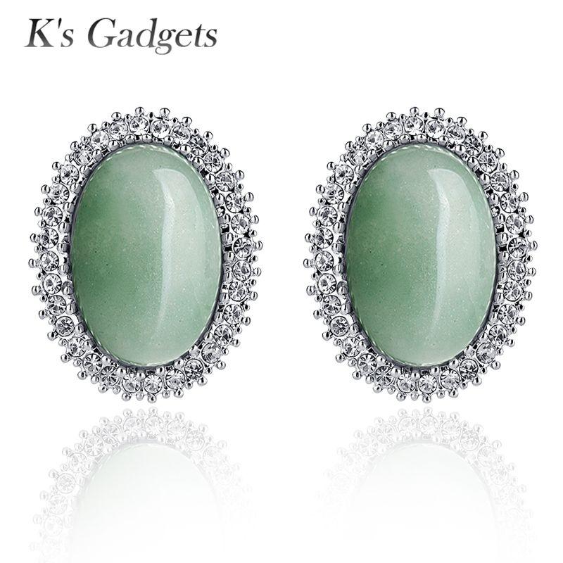 K's Gadgets canaux boucles d'oreilles bijoux en pierre naturelle boucles d'oreilles rétro vert cristal strass Antique couleur argent boucle d'oreille