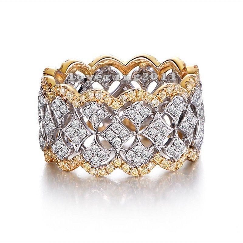 Size5-11 Superbe Unique Desgin De Luxe Bijoux 214 Pcs AAA CZ 925 Sterling Argent Simulé pierres De Mariage Femmes Anneau Cadeau