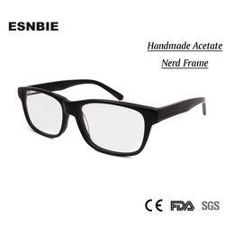Kualitas tinggi Pria Bingkai Batal Lens Nerd Glasses Hitam Handmade Asetat Resep oculos de grau Womens Mens Unisex Eyewear